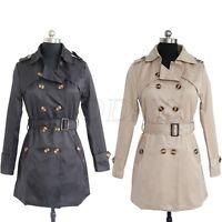 Women's Fashion Lapel Double Breasted Trench Coat Outwear Long Jacket Overcoat