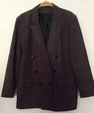 """vintage 80s Opus grey purple dogtooth check baggy double-breast jacket 44"""" 10 12"""