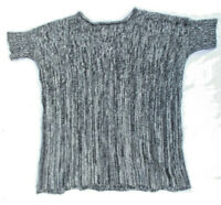 Forte 100% Cashmere Size M Women's 2-ply Black White Short Sleeve Sweater Top