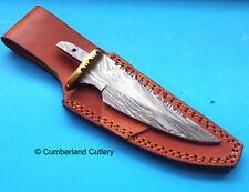 Damascus Steel  Hunting Knife Making  Blade Blank with Leather Sheath