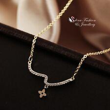 18K Gold Filled Diamond 4 Leaf Clover Curved Stipple Statement Necklace