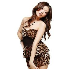Sexy Women Girl Sleeveless Leopard Party Clubwear Bodycon Short Mini Nylon Dress