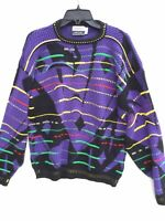Vintage 70s 80s Hilton Knit Colorblock Neon Cosby Acrylic Size XL Sweater