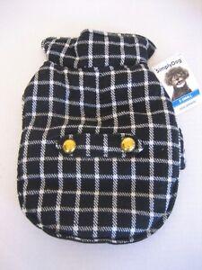 Simply Dog Unisex Black/White Plaid Gold Button Back Tab Pet/Dog Jacket Sz XXS