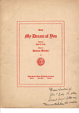 MY DREAM OF YOU Music Sheet-1906-AUTOGRAPHS JOHN T. LEAHY/DUNCAN BELCHER