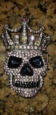 """Ladies Pink Rhinestone Skull & Crown Buckle For 1 1/2"""" Width Belt"""