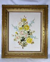"Vintage Original Framed Floral Still Life Oil Painting Signed Corbeau 20"" x 24"""
