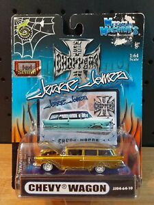 2004 Muscle Machines 1:64 West Coast Choppers Jesse James gold Chevy Wagon