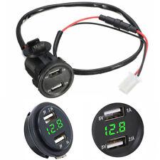 12V 3.1A Dual USB Ladegerät Buchse Grün LED Licht Voltmeter Spannungsüberwachung