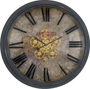 Large 62 Cm Antique Roman Numeral Gear Wall Clock.
