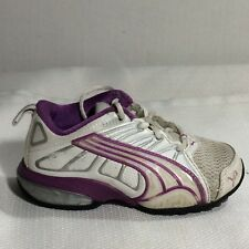 PUMA Toddler sz 6 Baby Casual Sneakers White Purple Shoes Girls Silver Athletic