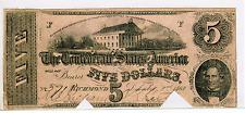 1862 $5 CONFEDERATE STATES OF AMERICA T-53  - COC-VF