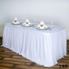 14 ft White TABLE SKIRT 3 Layers Tulle Wedding Party Catering Supply Linens SALE