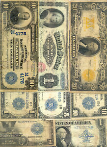 Nice looking collection of 8 diifferent large size currency types 1886 - 1923