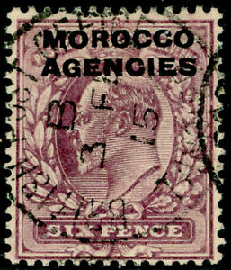 MOROCCO AGENCIES SG36, 6d pale dull purple, FINE USED, CDS. Cat £30.