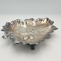 Vintage Silverplate Footed Leaf Dish