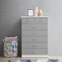 Modern 7-Drawer Dresser Bedroom Organizer Wooden Storage Furniture Gray Inspired
