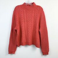 Ann Taylor LOFT Red Super Soft Cable Knit Mock Neck Sweater Womens Size XXLP