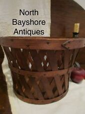 Antique 1800s New England Shaker Handmade Oak Wood Peach Produce Basket aafa