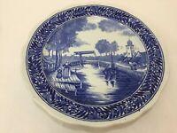 "Vintage Blue Delft Plate Boch La Louviere Woman & Girl, 12"" Diameter"