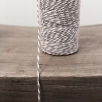 2 Metres Grey and White 1.5mm Striped Bunting 100% Cotton String Twine Bakers