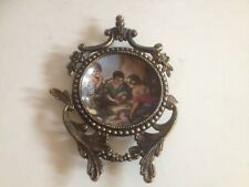 Antique Solid Brass Collectible Frame W/ Porcelain Plate Western Germany