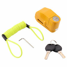 Pesado deber Moto Bike Freno de Disco Alarma Cerradura 2 Llaves Seguridad Y Cable De Recordatorio
