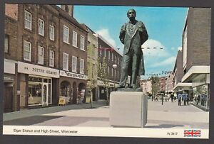 Postcard Worcester the Edward Elgar Statue and shops High Street by ETW Dennis