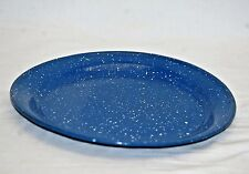 Vintage Style Graniteware Plate Kitchen Cowboy Camping Tool Blue w White Specks