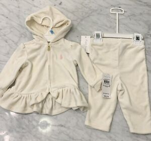 New Baby Girls 6m 3-6 Months New Polo Ralph Lauren Velour Hoodie And Pants Set