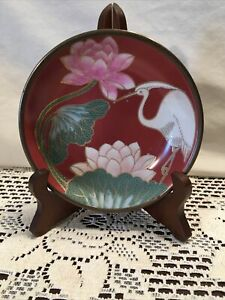 """Vintage Oriental Bowl Japanese Hand Painted 5.5 """" Wide Makers Mark Copper Back"""