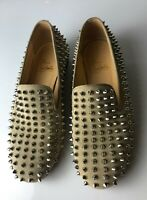 Christian Louboutin Rolling Spikes Beige Suede Loafers Flats Euro size 37