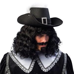 NEU Hut Musketier mit Hutband und Feder, schwarz