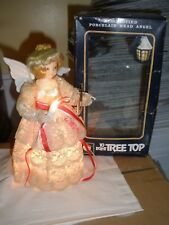 "Light up Christmas Tree Topper Beige Lace Dress with violin Angel 8"" Santa's Wor"