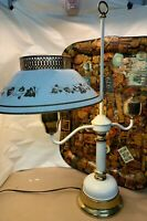 VINTAGE TABLE STUDENT LAMP, BRASS, WHITE, GLASS & Gold Tole Shade