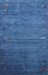 Abstract BLUE Gabbeh Oriental Area Rug Wool Hand-knotted Contemporary Carpet 5x6
