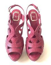 New Christian Dior Size 10.5/40.5 Cranberry Open Toe Heels w/Gunmetal Studs