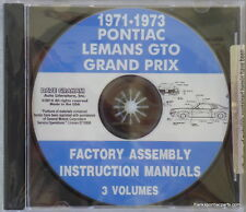 1971 1972 1973 Pontiac LeMans GTO Grand Prix Factory Assembly Manual CD