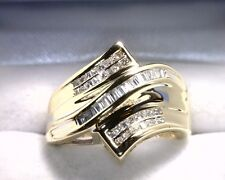 10K Yellow Gold Princess / Baguette Diamond Ring .50 TCW Size 7.5