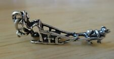 Sterling Silver 3D 30x12mm Man with Husky Malamute Dog Sled Charm