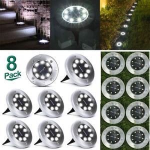 8tlg LED Solarleuchte Garten Beleuchtung Runden Fackel Solar Licht Lampe Leuchte