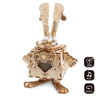 ROBOTIME DIY 3D Wooden Puzzle Steampunk Bunny Music Box Kits Kids Assembly Toy