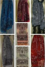 THAI SHEER SILK SCARF / PASHMINA with GLITTER Various Colours