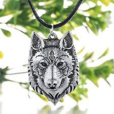 Norse Viking Wolf Cabeza Collar Colgante de alimentación animal
