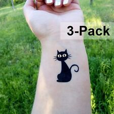 Cat Temporary Tattoos in Black and Gold for Halloween 3 Pack Animal Tattoo