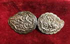 Antique 19th Ottoman Balkan Silvered Hand Engraved Belt Buckle
