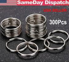 200/300Pcs Key Rings Chains Split Ring Hoop Metal Loop Steel Accessories 25mm US