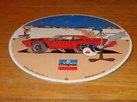 """VINTAGE 1969 PLYMOUTH ROAD RUNNER 11 3/4"""" PORCELAIN METAL CAR GASOLINE OIL SIGN!"""