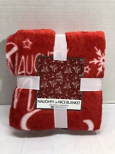 """Naughty or Nice Super Soft Blanket 50""""x 60"""" ~ New"""