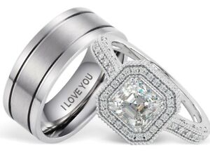 New His And Hers Titanium /925 Sterling Silver Wedding Engagement Ring Band Set